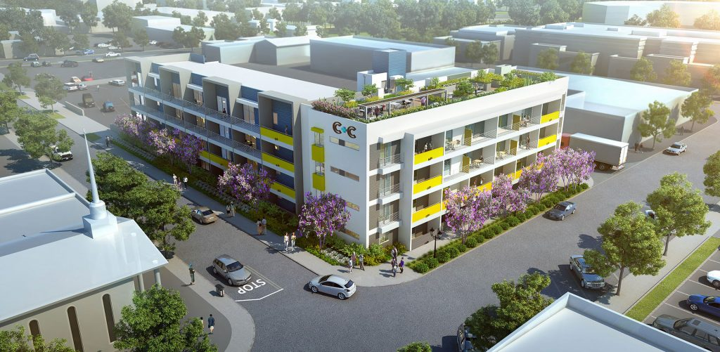 C + C Flats on Center and Church - Project rendering